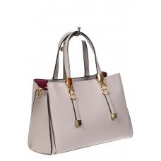 На фото 1 - Кожаная женская сумка тоут с регулировкой лямок, цвет серый