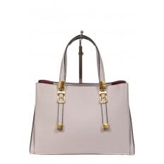 На фото 2 - Кожаная женская сумка тоут с регулировкой лямок, цвет серый