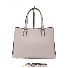 На фото 3 - Кожаная женская сумка тоут с регулировкой лямок, цвет серый