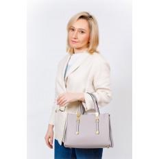 На фото 5 - Кожаная женская сумка тоут с регулировкой лямок, цвет серый