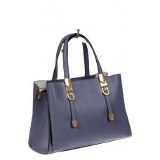 На фото 1 - Кожаная женская сумка тоут с регулировкой лямок, цвет голубой