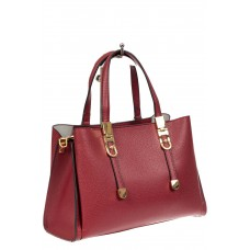 На фото 1 - Кожаная женская сумка тоут с регулировкой лямок, цвет красный