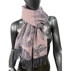 На фото 1 - Мягкий палантин из кашемира, цвет серо-розовый