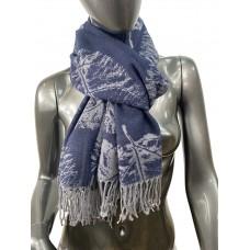 На фото 1 - Мягкий палантин из кашемира, цвет серо-синий