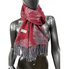 На фото 1 - Мягкий палантин из кашемира, цвет серо-бордовый