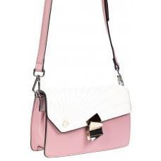 На фото 1 - Сумка кросс-боди из эко-кожи с фигурным замком, цвет розовый