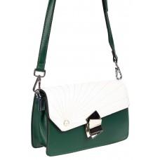На фото 1 - Сумка кросс-боди из эко-кожи с акцентным замком, цвет зеленый с белым