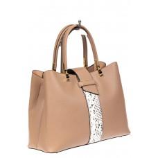 На фото 1 - Кожаная женская сумка тоут с вставкой под рептилию, цвет бежевый