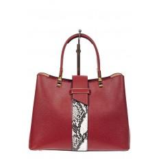 На фото 2 - Кожаная женская сумка тоут с вставкой под рептилию, цвет красный