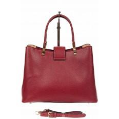На фото 3 - Кожаная женская сумка тоут с вставкой под рептилию, цвет красный