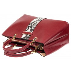 На фото 4 - Кожаная женская сумка тоут с вставкой под рептилию, цвет красный