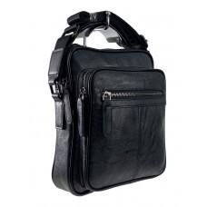 На фото 1 - Мужская сумка через плечо из фактурной экокожи, цвет чёрный
