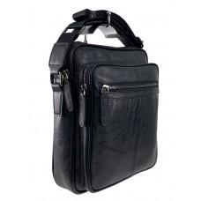 На фото 1 - Мужская сумка через плечо из искусственной кожи, чёрная