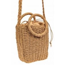 На фото 1 - Плетеная сумка из джута с круглыми ручками, цвет крафт