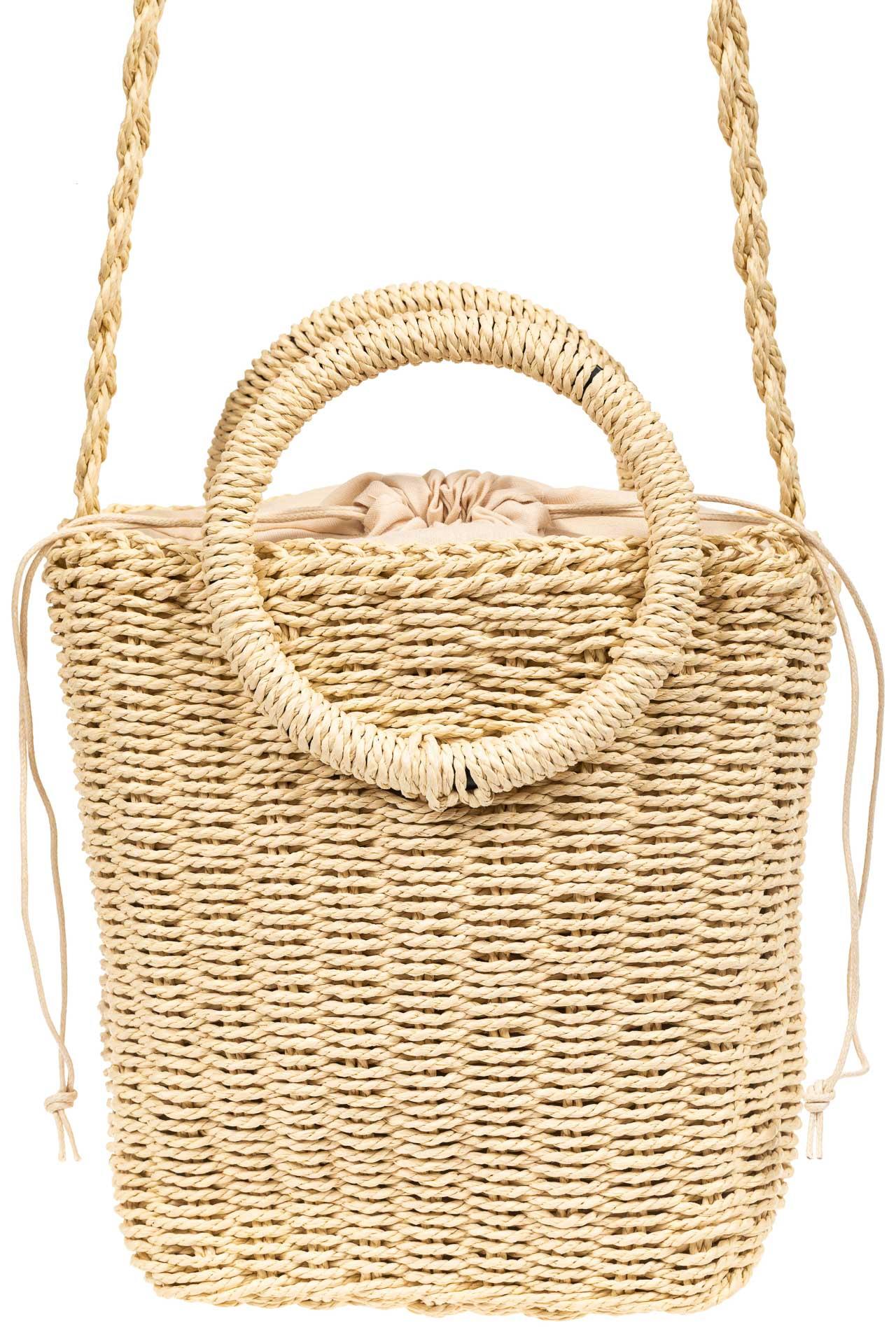 На фото 2 - Плетеная сумка из джута с круглыми ручками, цвет молочный
