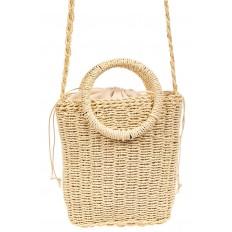 На фото 3 - Плетеная сумка из джута с круглыми ручками, цвет молочный