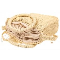 На фото 4 - Плетеная сумка из джута с круглыми ручками, цвет молочный