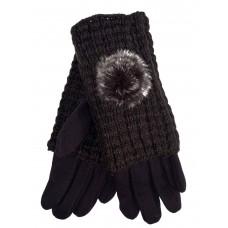На фото 1 - Женские текстильные перчатки с шерстяными митенками, цвет шоколад
