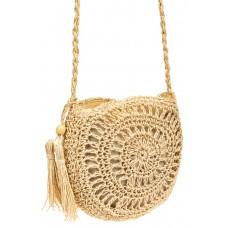 На фото 1 - Круглая плетеная сумка из джута с кистью, цвет молочный