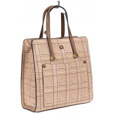 На фото 1 - Женская сумка тоут из искусственной кожи, цвет бежевый