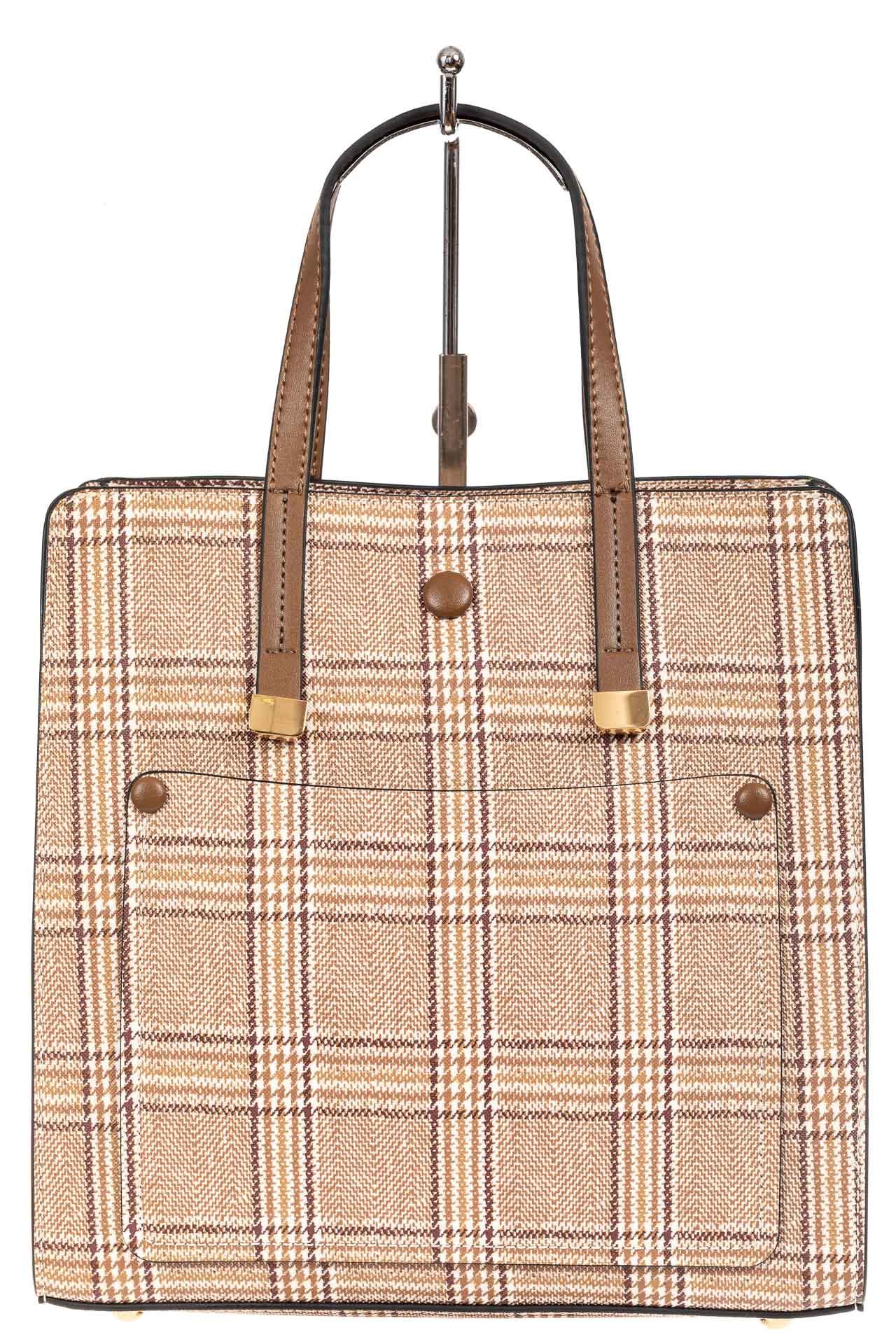 На фото 2 - Женская сумка тоут из искусственной кожи, цвет бежевый