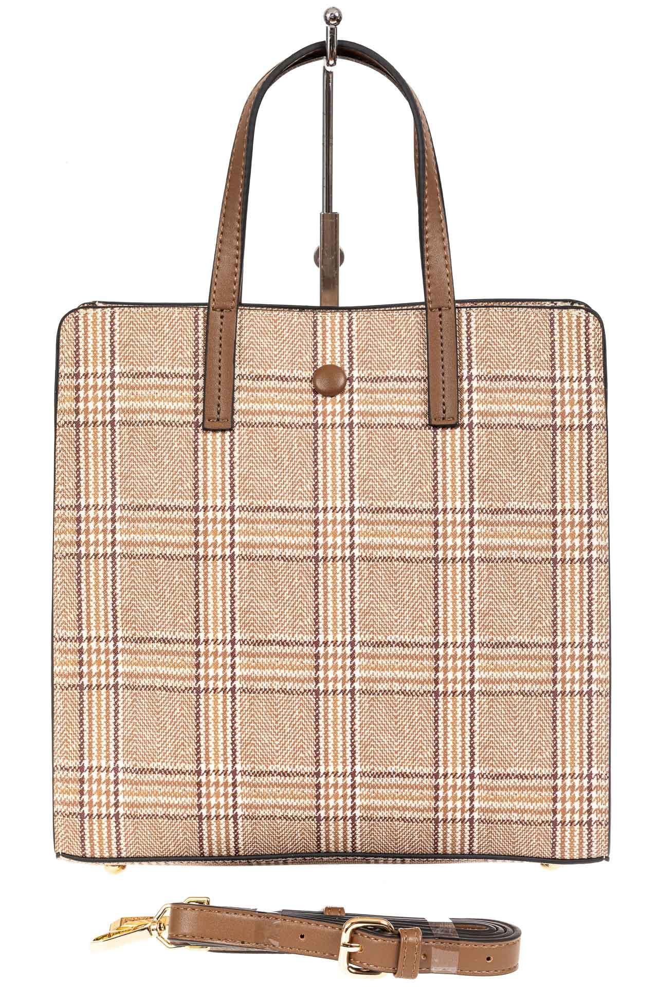 На фото 3 - Женская сумка тоут из искусственной кожи, цвет бежевый