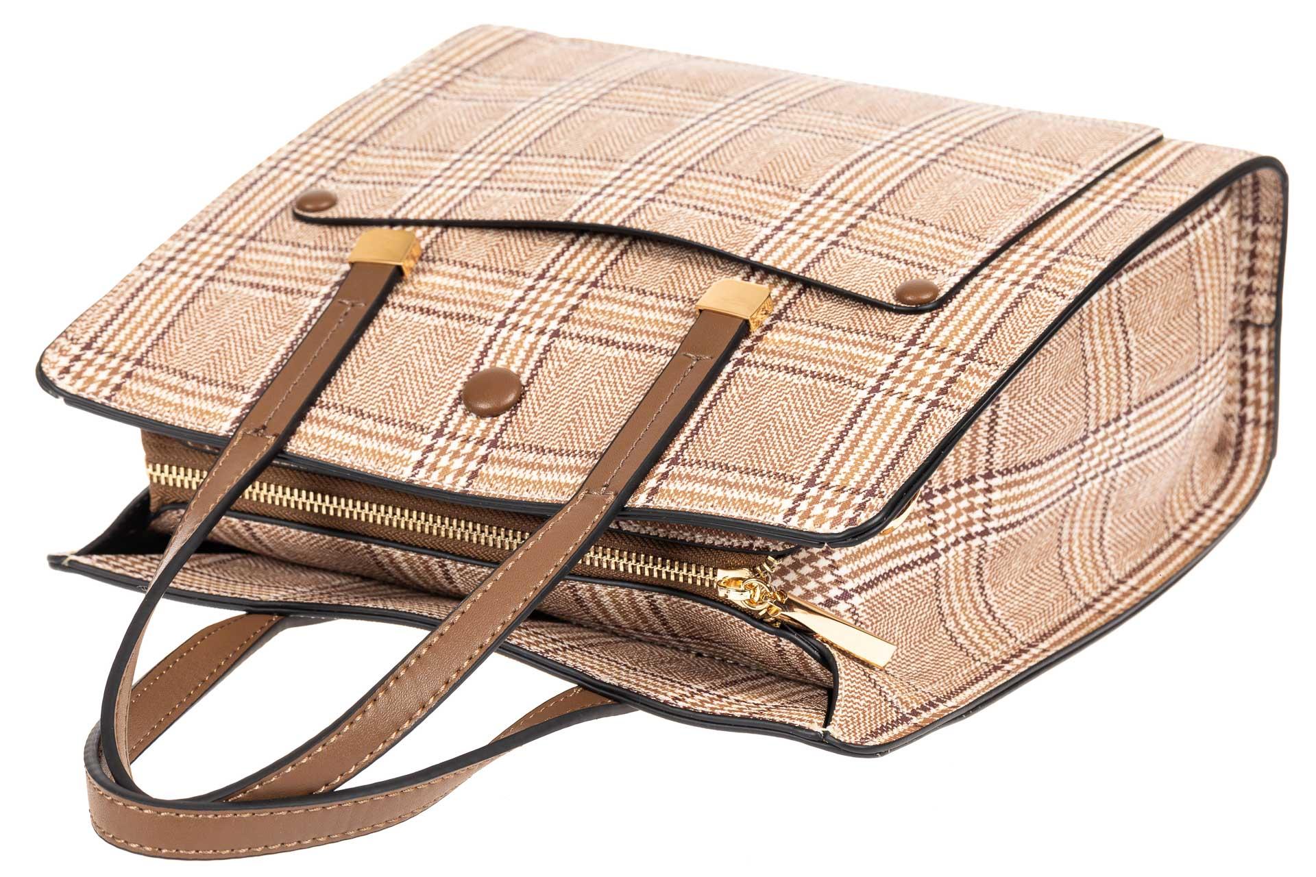 На фото 4 - Женская сумка тоут из искусственной кожи, цвет бежевый