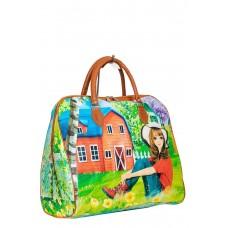На фото 1 - Женская дорожная сумка из искусственной кожи, мультицвет