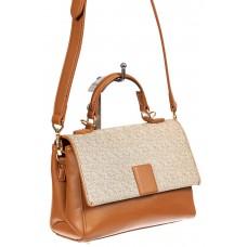 На фото 1 - Небольшая сумочка-портфель из кожи, цвет рыжий