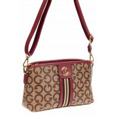 На фото 1 - Маленькая сумка из экокожи, цвет бордовый