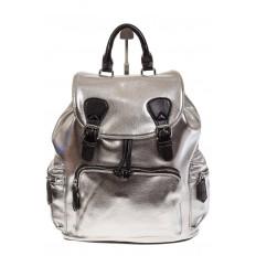 На фото 2 - Рюкзак-портфель из искусственной кожи серебристого цвета