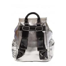 На фото 3 - Рюкзак-портфель из искусственной кожи серебристого цвета