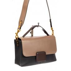 На фото 1 - Классическая женская сумка кожа, цвет черный с коричневым