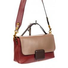 На фото 1 - Классическая женская сумка кожа, цвет бордовый с коричневым