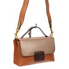 На фото 1 - Классическая женская сумка кожа, цвет рыжий с коричневым