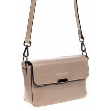 На фото 1 - Маленькая сумка-почтальонка из натуральной кожи, цвет бежевый
