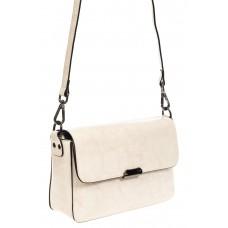 На фото 1 - Маленькая сумка-почтальонка из натуральной , цвет молочный