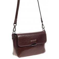 На фото 1 - Маленькая сумка-почтальонка из натуральной кожи, цвет шоколадный