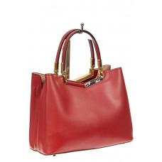На фото 1 - Кожаная сумка тоут с акцентной горловиной, цвет красный