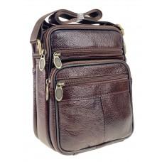 На фото 1 - Мужская кожаная сумка для документов, коричневая