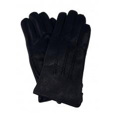 На фото 1 - Мужские перчатки из натуральной кожи оленя с декоративной строчкой, цвет чёрный