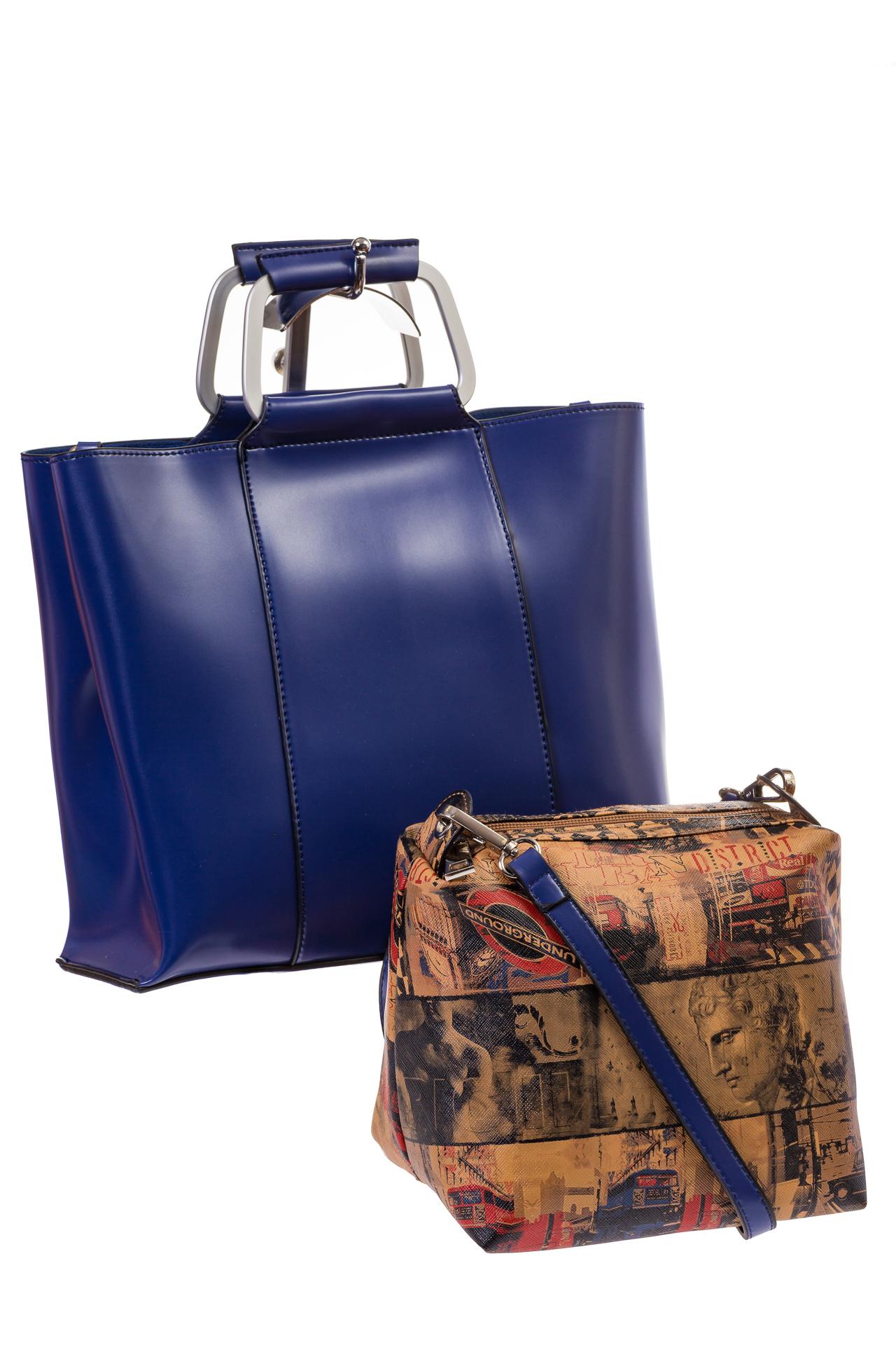 Синяя Satchel bag из искусственной кожи, текстильная косметичка в комплекте, фото