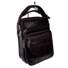 На фото 1 - Небольшая кожаная сумка для документов, цвет шоколад
