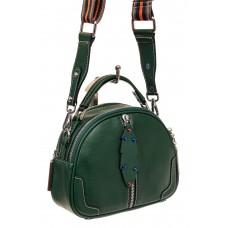 На фото 1 - Небольшая сумка купол из натуральной кожи, цвет зеленый