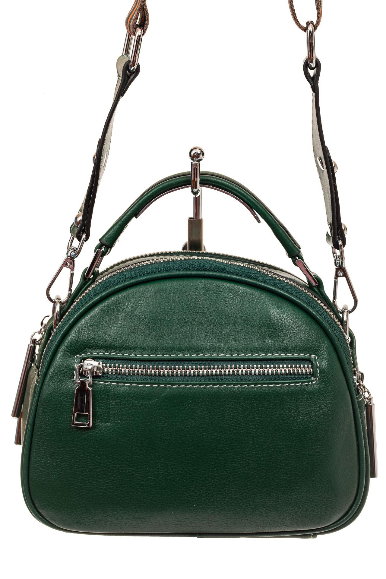 На фото 2 - Небольшая сумка купол из натуральной кожи, цвет зеленый