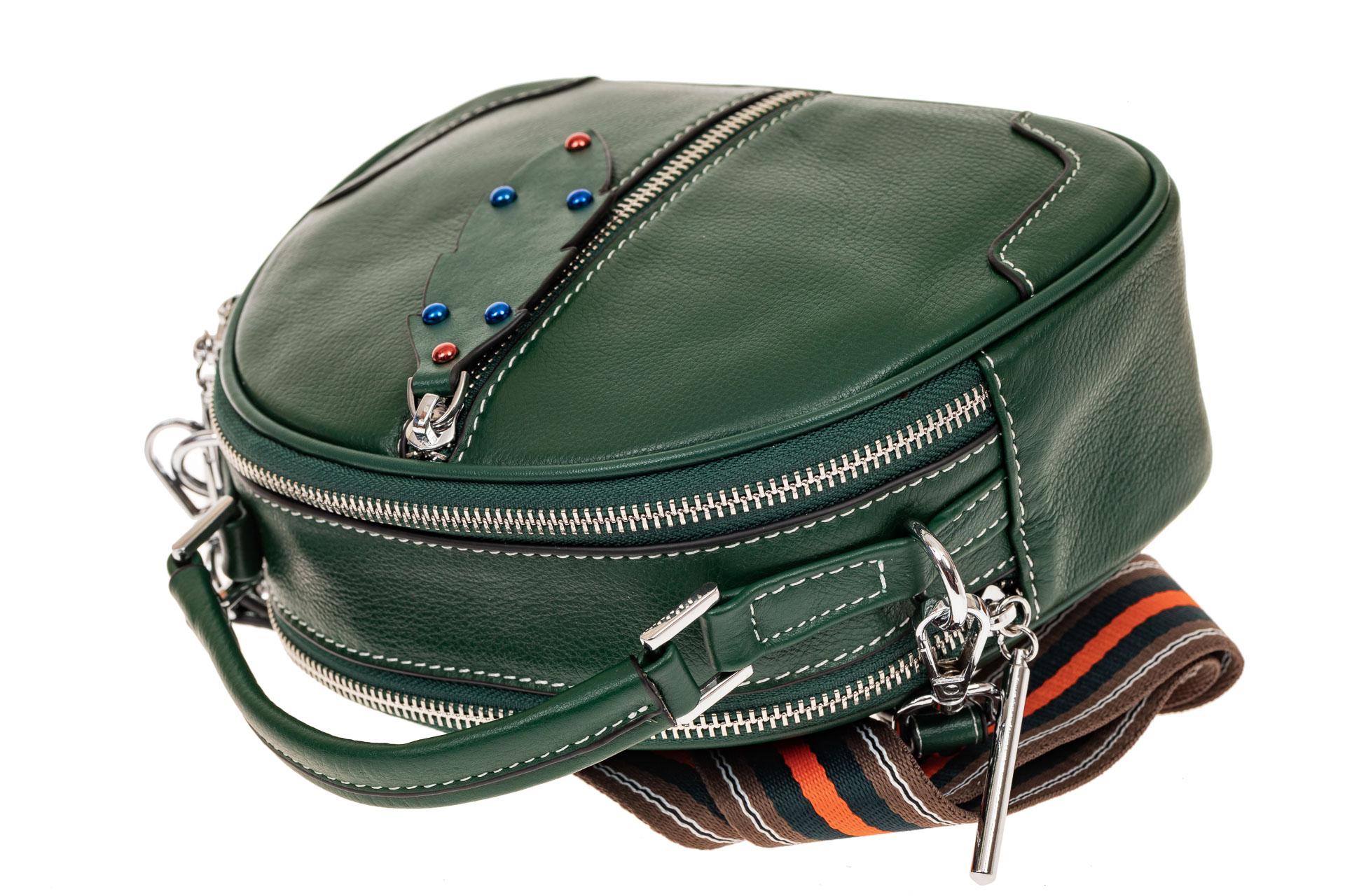 На фото 3 - Небольшая сумка купол из натуральной кожи, цвет зеленый