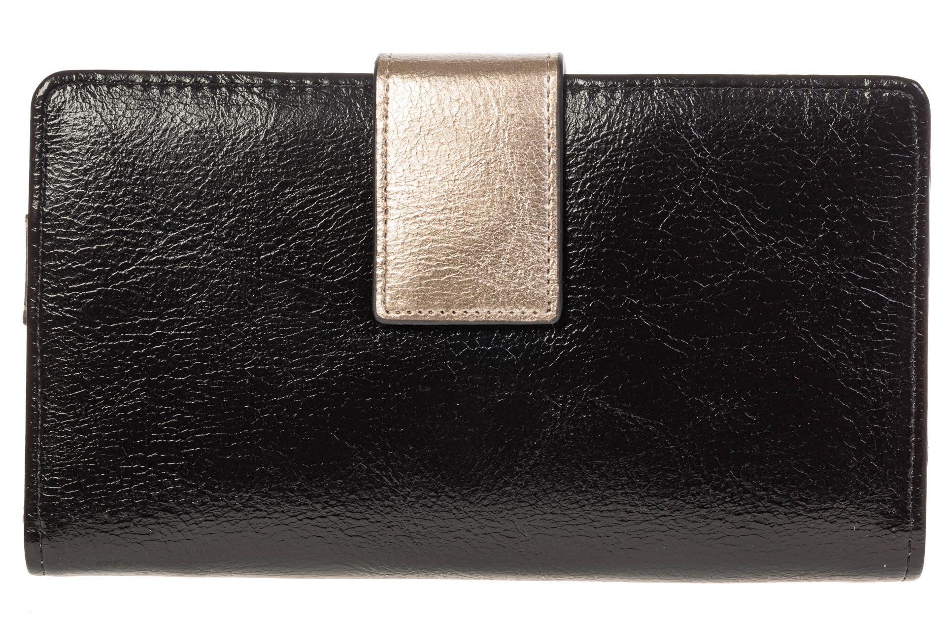 На фото 1 - Черное женское портмоне из искусственной кожи