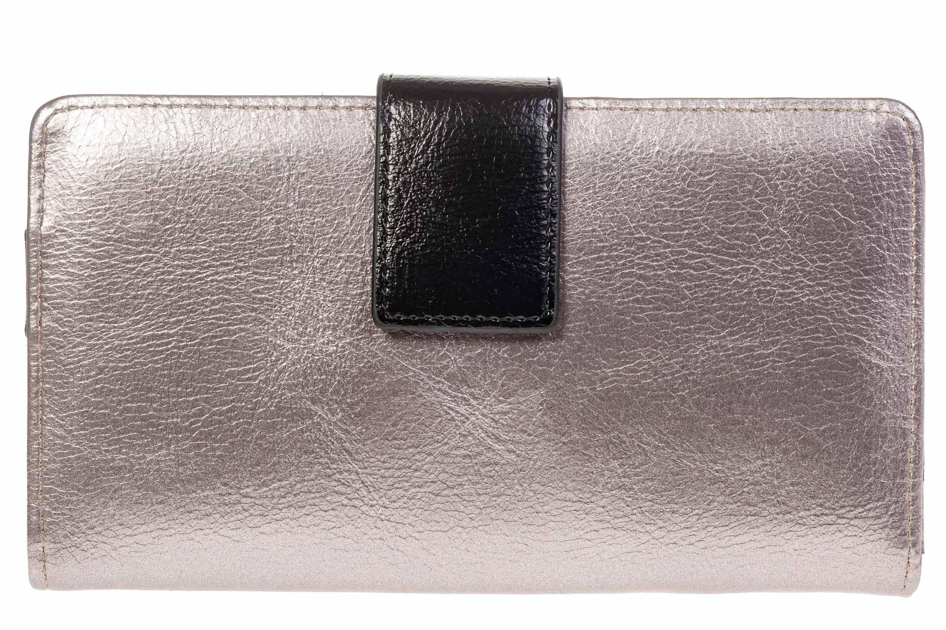 На фото 1 - Серебристое женское портмоне из искусственной кожи