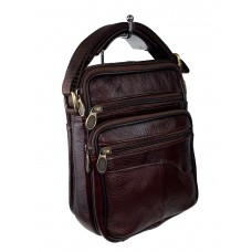 На фото 1 - Мужская кожаная сумка для документов, цвет шоколад