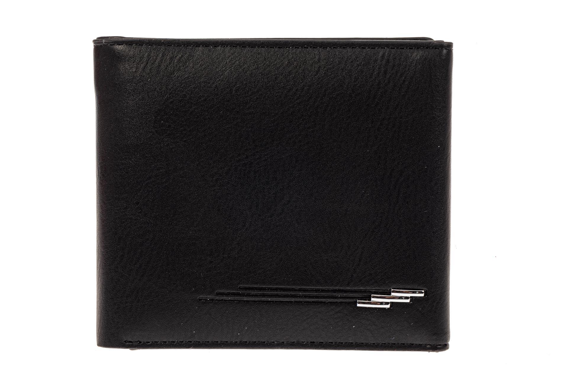 На фото 1 - Мужское портмоне из гладкой искусственной кожи, цвет черный